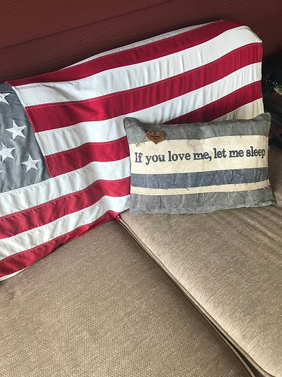 "Personalized Burlap ""If You Love Me, Let Me Sleep"" Pillow, Customized Throw"