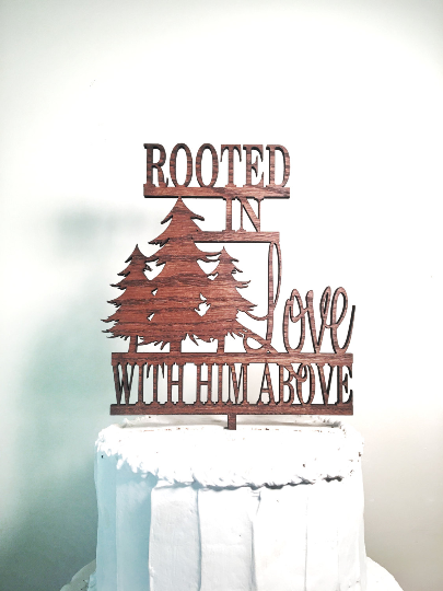 Rustic Wooden Wedding Cake Topper