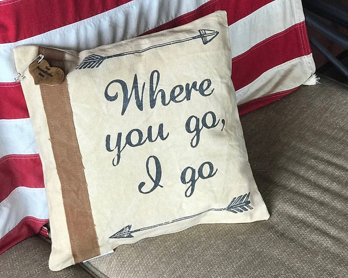 "Personalized Burlap ""Where You Go I Go"" Pillow, Customized Pillow"