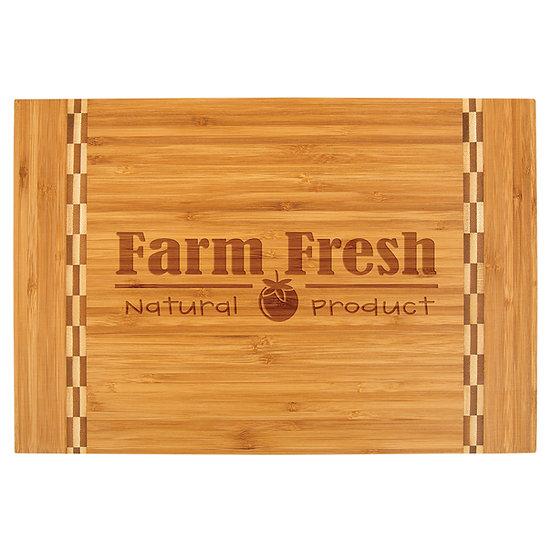 Personalized Bamboo Cutting Board w/ Butcher Block Inlay, Housewarming Gifts