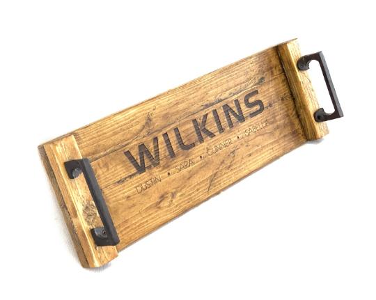 Rustic Reclaimed Wood Tray w/ Modern Cubic Metal Handles, Cu