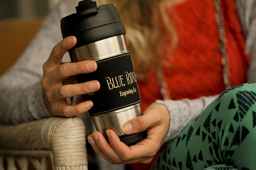 Stainless Steel Engravable Leatherette Travel Mug, Bridal Party Gifts,