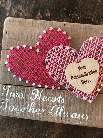 "Personalized ""Two Hearts Together"" String Art, Customized Wall Art"