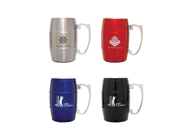 Personalized 17 oz. Steel Barrel Mug with Handle, Engraved Mug, Drinkware