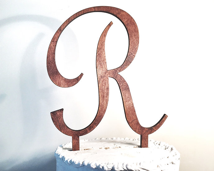 Letter R Wooden Wedding Cake Topper