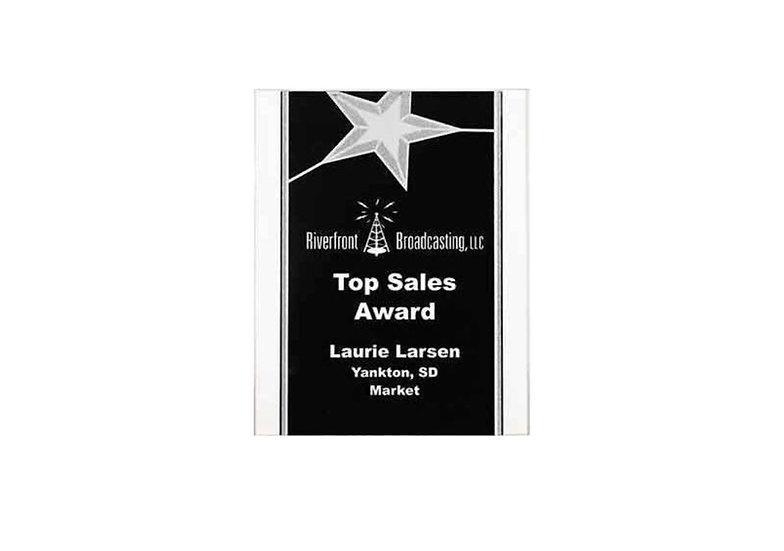 Personalized 9 x 12 Black/Silver Star Acrylic Plaque, Employee Award