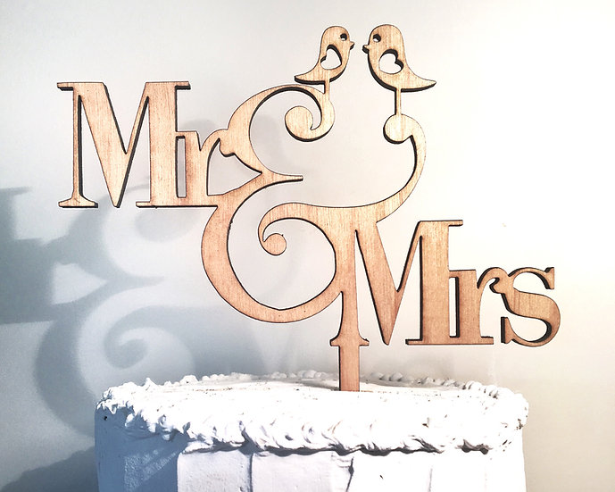 Mr. & Mrs. Wooden Wedding Cake Topper