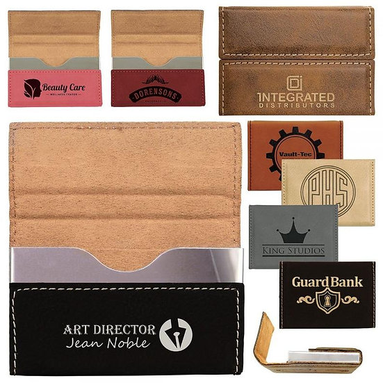 Engraved Leatherette Hard Business Card Holder, Office Gifts, Promotional