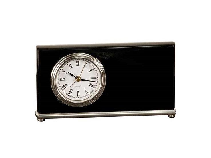 Engraved Black Piano Finish Desk Clock, Desk Accessories, House ware, Office