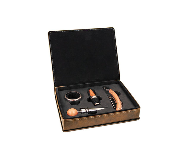 Engraved Leatherette 4 Piece Wine Set, Engraved Wine Gift Set, Gifts for Wine Lo