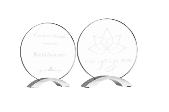 Round Cosmic Glass Award, Custom Engraved, Professional, Recognition Award