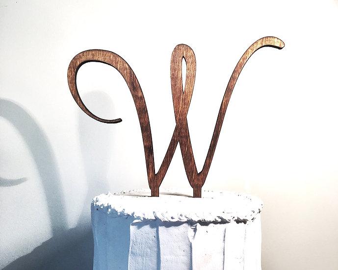 Letter W Wooden Wedding Cake Topper