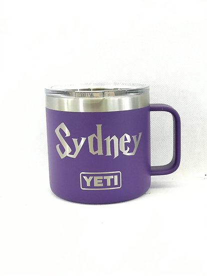 Custom Engraved 14oz YETI Mug with Handle, Personalized Travel Mug