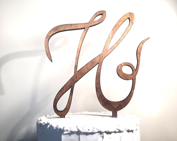 Letter H Wooden Wedding Cake Topper