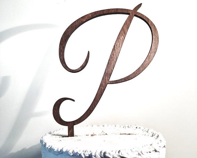Letter P Wooden Wedding Cake Topper