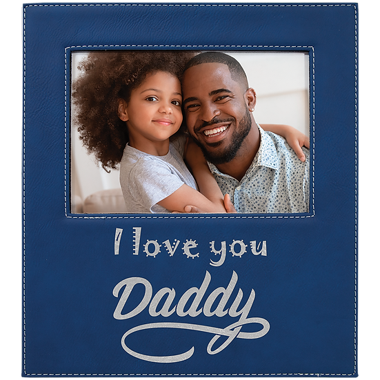 Custom Engraved Leatherette Picture Frame, Fathers Day, Mother's Day