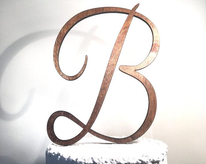 Letter B Wooden Wedding Cake Topper