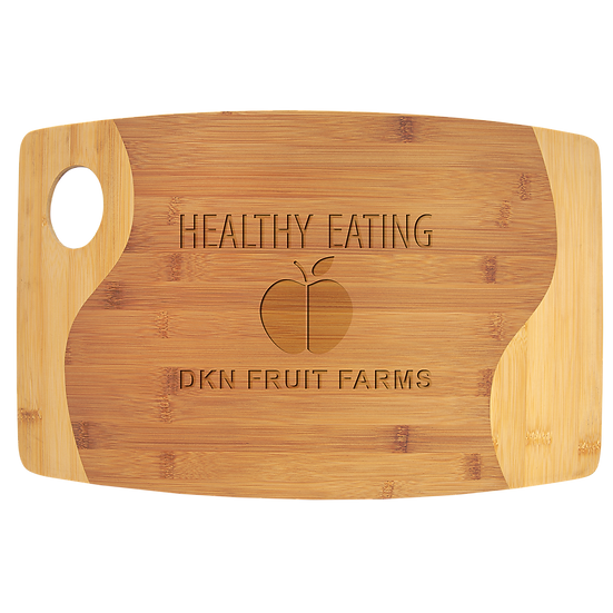 "11 3/4"" x 17 3/4"" Bamboo Two Tone Cutting Board with Handle, Personalized"