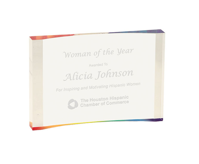 Acrylic Crescent Award, Engraved Acrylic Award, Custom Award, Employee Recogniti