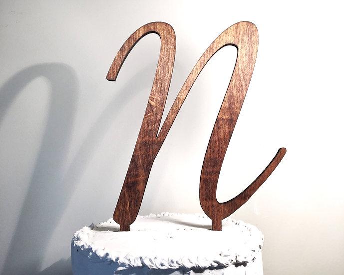 Letter N Wooden Wedding Cake Topper