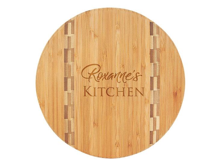 Round Bamboo Cutting Board w/ Butcher Block Inlay, Housewarming