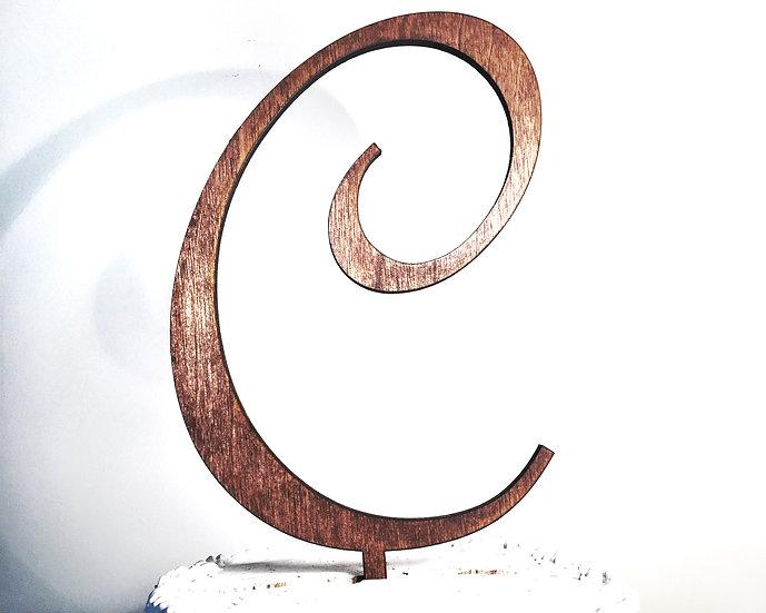 Letter C Wooden Wedding Cake Topper