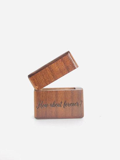 Custom Engraved Ring Box, Low Profile Walnut Engagement Ring Box