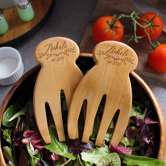 Customized Bamboo Salad Hands, Salad Tongs, Eco-Friendly, Kitchenware, Housewarm