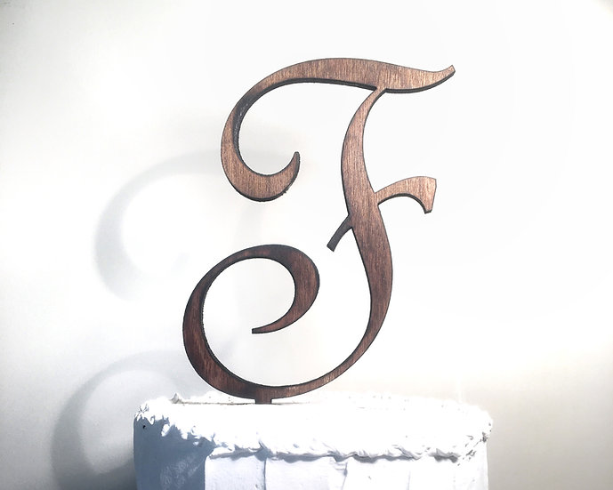 Letter F Wooden Wedding Cake Topper