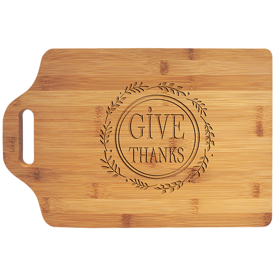 "15"" x 10 1/4"" Bamboo Cutting Board with Handle, Personalized Engraved"