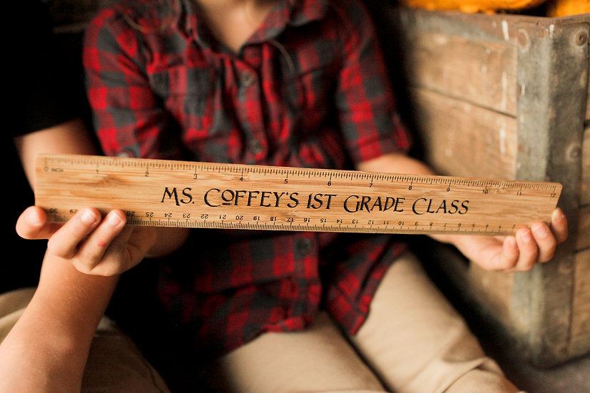 "Personalized Maple 12"" Ruler, Engraved Ruler, Teacher's Gift, Classroom Gift"