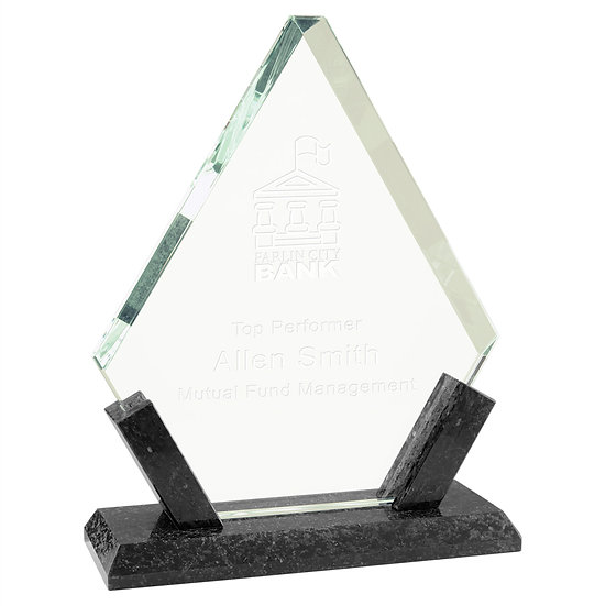 Personalized Diamond Glass with Black Marble Award, Engraved, Promotional Gifts