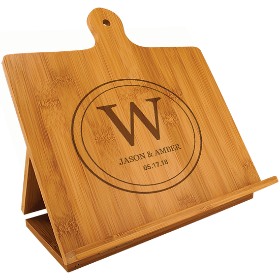 Bamboo Chef's Easel, Personalized Engraved Gifts for Him, Gifts for Her, Wedding