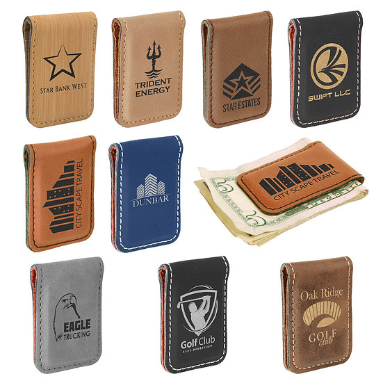 Personalized Leatherette Money Clip, Gifts for Him, Anniversary Gift, Engraved