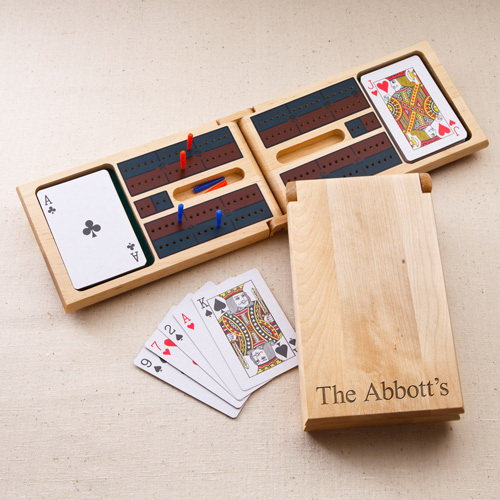 Engraved Cribbage Game Set, Family Games, Personalized, Custom