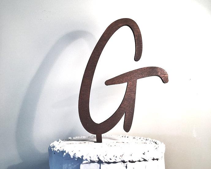 Letter G Wooden Wedding Cake Topper
