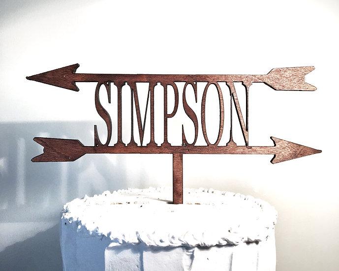 Surname Wooden Wedding Cake Topper