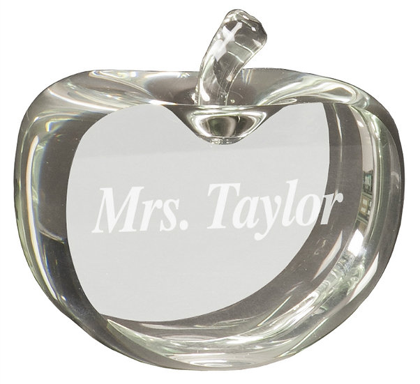 Flat Crystal Apple, Personalized Engraved, Gifts for Teachers