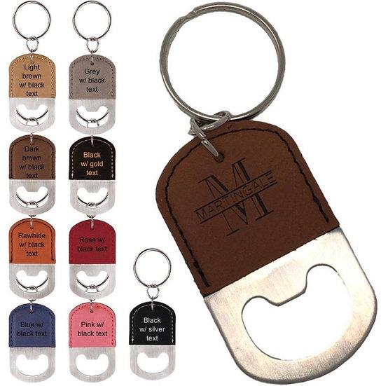 Personalized Oval Leatherette Bottle Opener Keychain
