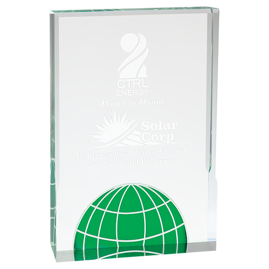 Globe Clear Plaque Award, Personalized Engraved, Promotional, Professional Award