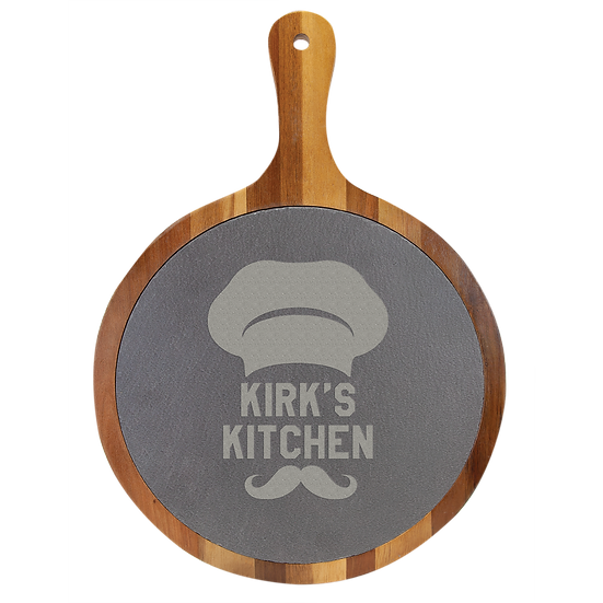 Round Wood/Slate Serving & Cutting Board, Housewarming, Personalized Engraved
