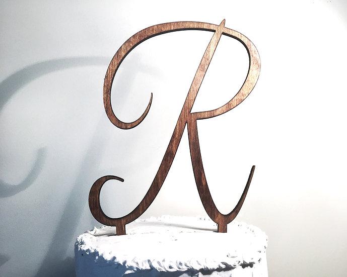 Letter R Wooden Wedding Cake Topper