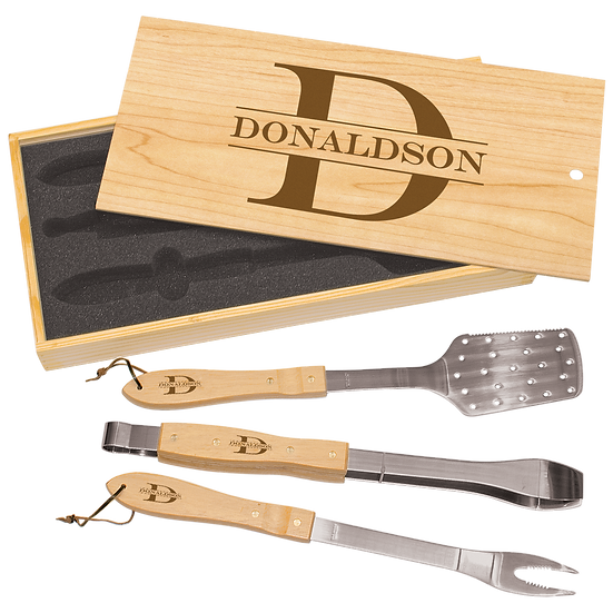 Personalized 3-Piece BBQ Set in Wooden Pine Box, Custom Engraved BBQ set