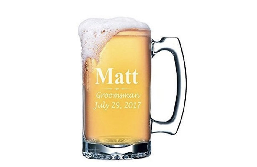 Personalized Beer Stein, Etched Glass Beer Mugs, Engraved Glass Mugs, Groomsmen