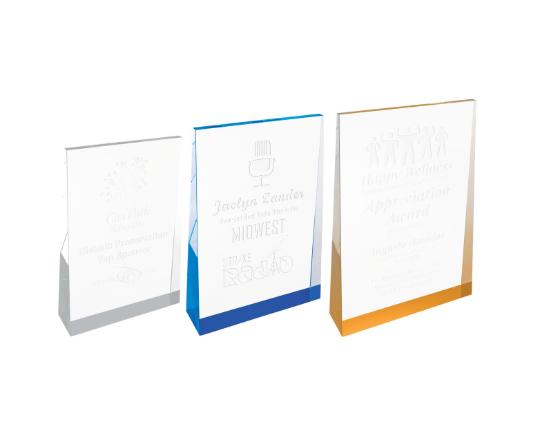 Set of 3 Acrylic Wedge Award, Promotional Gifts, Awards, Personalized Engraved