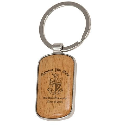 Personalized Silver and Wood Rounded Corner Keychain