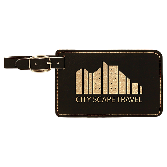"""4 1/4"""" x 2 3/4"""" Leatherette Luggage Tag, Personalized Engraved"""
