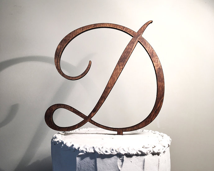 Letter D Wooden Wedding Cake Topper