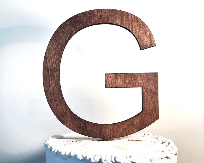 Letter G Wooden Wedding Cake Topper