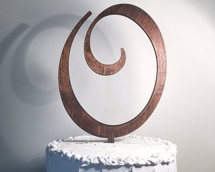 Letter O Wooden Wedding Cake Topper